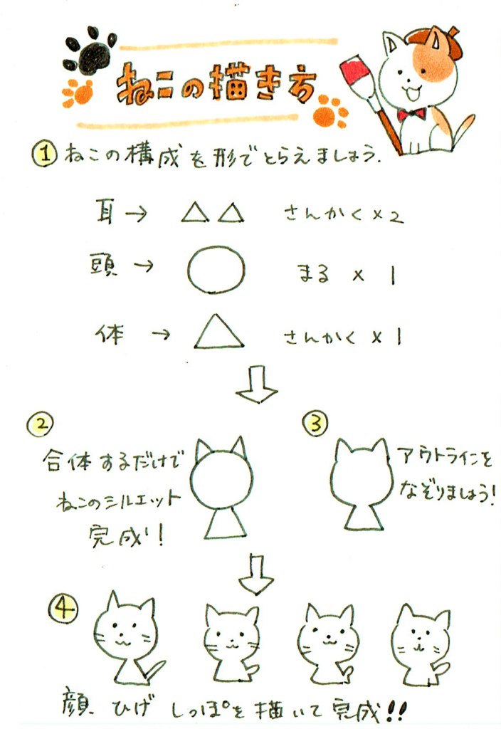 簡単に描ける猫の描き方