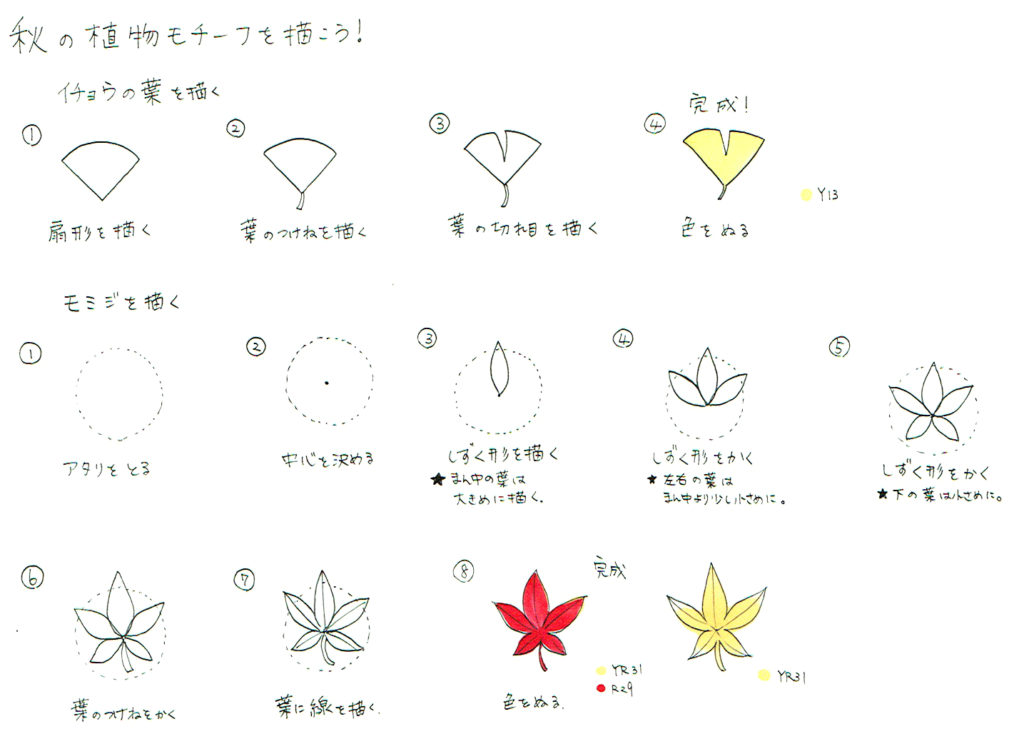 イチョウ・紅葉の描き方