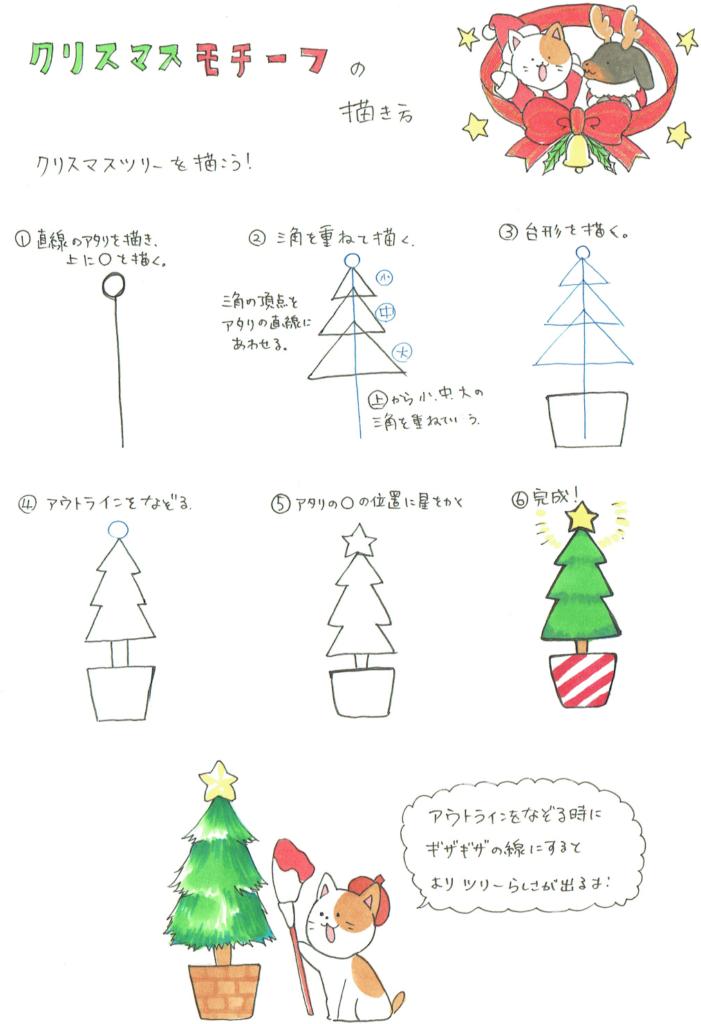 三角で描くクリスマスツリーの描き方